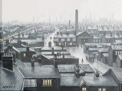 Lot 1059 - Steven Scholes (b.1952) ''Ordsall, Salford from the Regent Road Brewery'' Signed, inscribed...