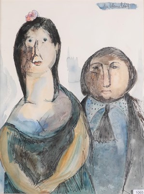Lot 1065 - Albert du Mesnildot (1922-1990) French 'La Couple'' Signed, watercolour and ink, 64cm by 48cm...