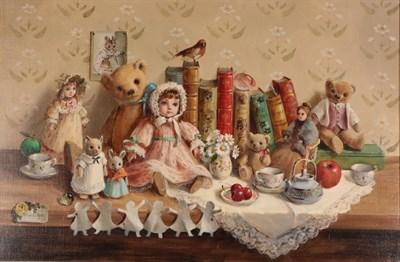 Lot 1066 - Deborah Jones (1921-2012) ''The Nursery Shelf'' Signed and dated 1939, oil on canvas, 50cm by 75cm