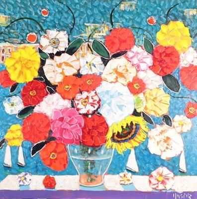 Lot 1068 - Roberto Masia (b.1958) Italian ''Flowers in Portofino'' Signed, inscribed verso, oil on canvas,...