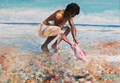 Lot 1069 - Mario Berrino (1920-2011) Italian ''Pescatori Indigeni'' Oil on canvas, 70cm by 100cm...