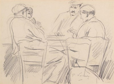 Lot 1075 - Philip Naviasky (1894-1983) The card players Signed, pencil, 22.5cm by 30cm  Artist's Resale...