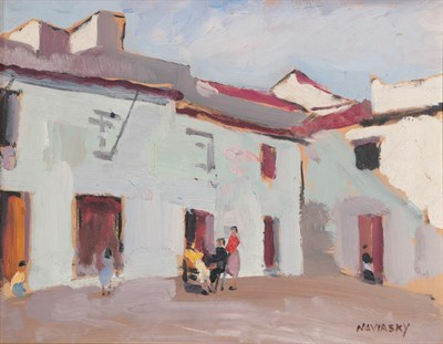 Lot 1076 - Philip Naviasky (1894-1983) Figures before houses Signed, oil on board, 26.5cm by 34cm...