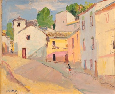 Lot 1077 - Philip Naviasky (1894-1983) Two figures on a continental street Signed, oil on canvas, 38cm by 48cm