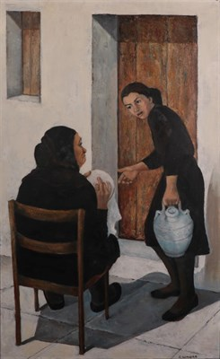 Lot 1079 - Elizabeth Wright (1928-2015) Two Spanish ladies going about their daily work Signed, oil on...