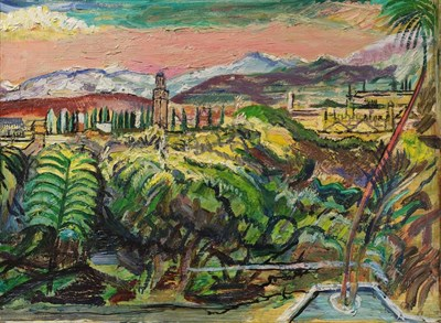 Lot 1088 - Sir Francis Ferdinand Maurice Cook Bt. (1907-1978) View from Marrakesh, looking towards the...