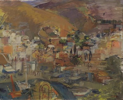 Lot 1089 - Oliver Campion (1928-2000) Continental Townscape Initailled, oil on canvas, 44cm by 54.5cm...