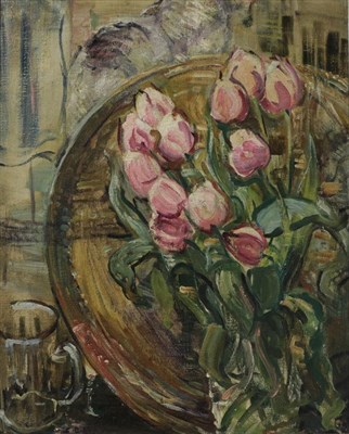 Lot 1090 - * O (20th century) ''Tulips'' Indistinctly signed, fragments of old label verso, oil on canvas,...