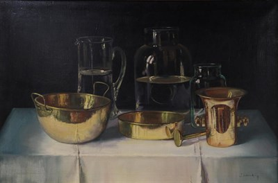 Lot 1091 - *S T (20th/21st century) Still life of assorted vessels and brassware Indistinctly signed, oil...