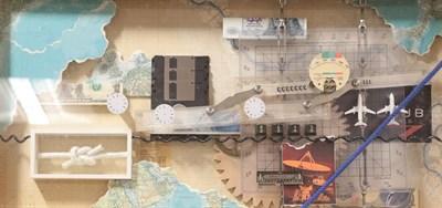 Lot 1093 - Contemporary School Mixed media collage, 31cm by 65cm  Artist's Resale Rights/Droit de Suite...