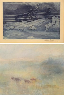 Lot 1096 - Karen Wallbank (Contemporary) ''Dawn Light' Oil on board, together with an etching after Sir...