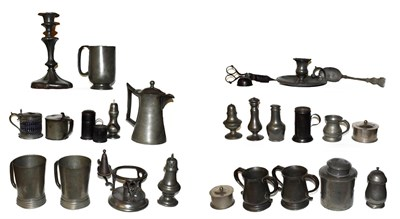 Lot 3 - Quantity of assorted mainly 19th century pewter comprising a plates, tankards, pepperettes, chamber