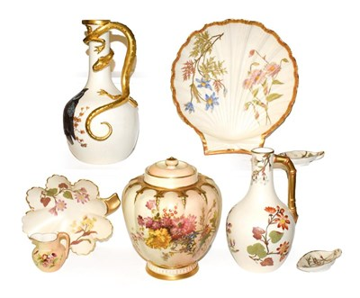 Lot 4 - A collection of Royal Worcester blush ware, including a lizard handled ewer painted with an...