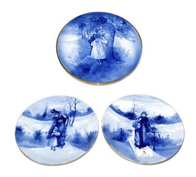 Lot 5 - A pair of Royal Doulton Blue Children circular plates, underglaze green factory mark, 20cm and...