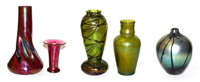 Lot 8 - Two Art Nouveau Austrian iridescent glass vases, 21.5cm and 25cm (chips to rims) and three...