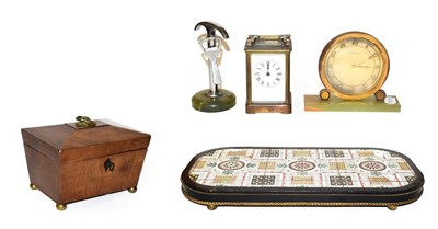 Lot 9 - A Victorian tile topped stand, together with and Art Deco mantel timepiece retailed by B. Mallinson