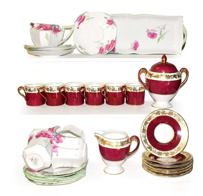 Lot 10 - A Shelley Queen Anne part tea set decorated with poppies and a Wedgwood part coffee set (one tray)