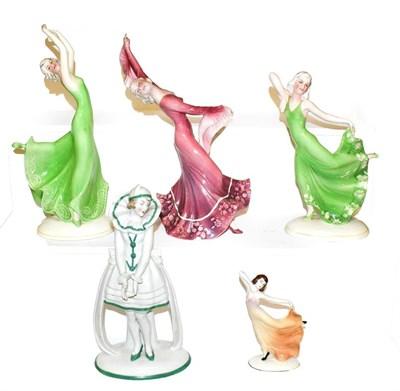Lot 19 - Four Art Deco Katzhutte (Thuringia) figures, modelled as female dancers, tallest 27cm and a...