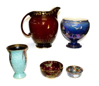 Lot 20 - A group of Simon Fieldings Crown Devon pottery, including Mattajade vase, 15.5cm, 153 jug,...