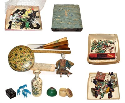 Lot 22 - A quantity of assorted Chinese miniature pottery figures, some carrying lanterns, others...