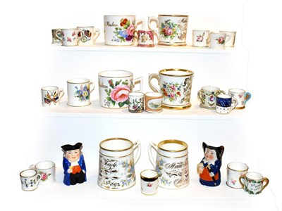 Lot 25 - A collection of miniature porcelain tankards including Royal Crown Derby, Royal Worcester and...