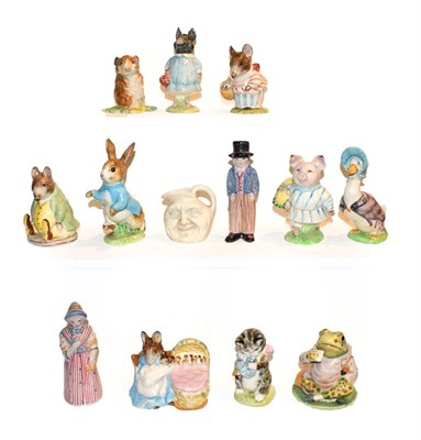 Lot 26 - Ten Beatrix Potter figures including some gold back stamps, Royal Doulton miniature jug and a...