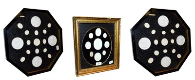 Lot 27 - A collection of Grand Tour plaster intaglio seal casts, in a gilt frame and in a pair of...
