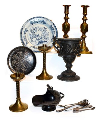 Lot 28 - A tray of 19th century metalwares, including a Niello plate, two pairs of brass candlesticks...