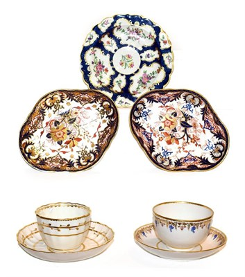 Lot 33 - A Derby porcelain tea bowl and saucer, circa 1790, painted in blue, pink and gilt with a band...
