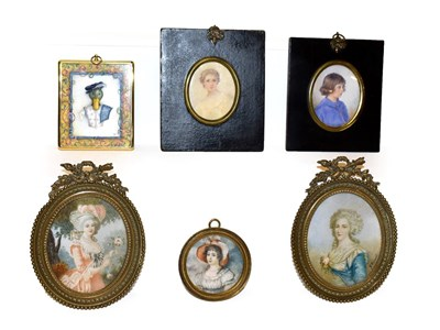 Lot 37 - Christopher Hope King (b. 1951) framed portrait miniature the Earl of Dorset, a pair of...