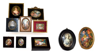 Lot 39 - A collection of portraits and other miniatures including a pair of religious, Gainsborough...