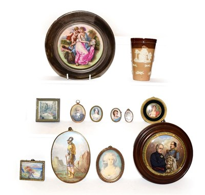Lot 42 - A collection of portrait miniatures and other miniature paintings, together with a Doulton...