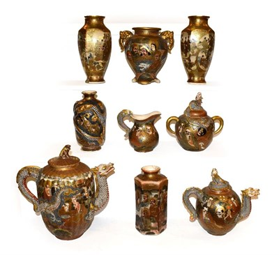 Lot 43 - A quantity of Japanese Meiji period Satsuma pottery, to include an assembled four piece tea service