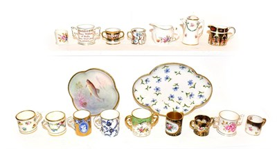 Lot 44 - A tray of miniature porcelain tankards and dolls house miniatures, including Royal Crown Derby,...