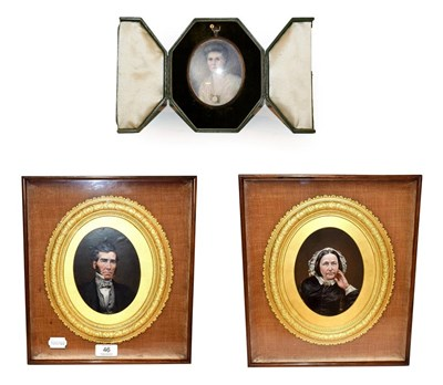 Lot 46 - An oval portrait miniature of a lady in fitted leather easel case circa 1920, together with a...