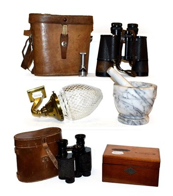 Lot 48 - Two pairs of leather cased binoculars including Carl Zeiss Jena 7x50,  brass wall sconce with...