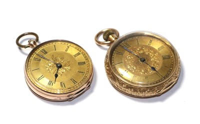 Lot 51 - Two lady's fob watches, with cases stamped 9ct and 18k