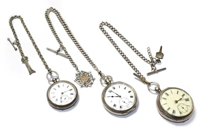 Lot 54 - Three silver open faced pocket watches, with two attached silver curb link chains and attached...