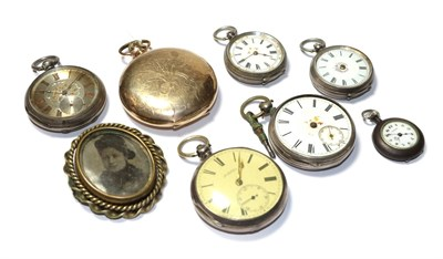 Lot 55 - Two lady's silver pocket watches, three lady's fob watches with cases stamped 0.800 and fine...