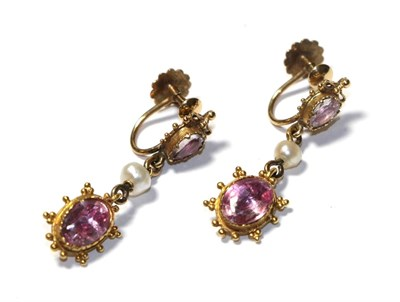 Lot 62 - A pair of early 19th century pink tourmaline and seed pearl drop earrings, the oval cut pink...