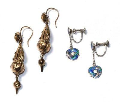 Lot 67 - A pair of enamel drop earrings, unmarked, with screw fittings and a further pair of drop...