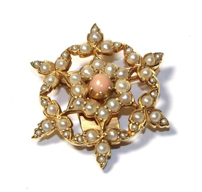 Lot 68 - A coral and split pearl brooch, the central round cabochon coral within a border of split...