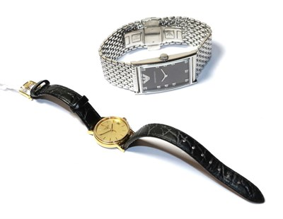 Lot 80 - A Emporio Armani gents rectangular wristwatch and a lady's gold plated Longines wristwatch (2)