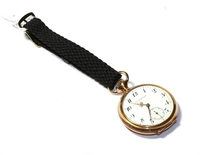 Lot 81 - An open faced pocket watch, stamped '14K'