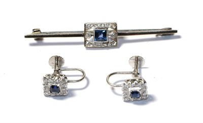 Lot 82 - A sapphire and diamond bar brooch, stamped '9CT', length 5.2cm and a pair of sapphire and...