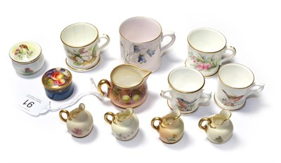 Lot 91 - A collection of Royal Worcester miniatures, to include a fruit painted jug and lidded pot, four...