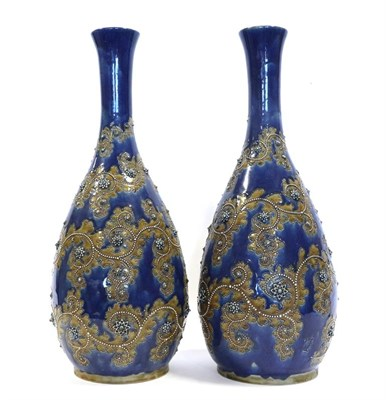 Lot 2002 - George Tinworth (1843-1913) for Doulton Lambeth: A Large Pair of Stoneware Vases, with applied...