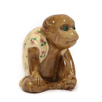 Lot 2004 - A Bernard Moore Monkey Menu Holder, in a seated pose, wearing a floral painted coat, unmarked,...