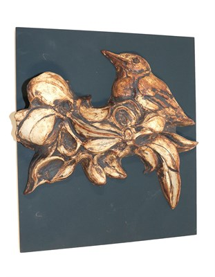 Lot 2005 - Mick Arnup (1923-2008): Fledgling: A Stoneware Relief Plaque, modelled with a bird in foliage,...