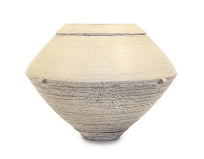 Lot 2011 - Jason Wason (b.1946): A St. Agnes Clay Lugged Vessel, smooth surface with rubbed metal oxides,...